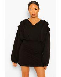 Boohoo Seam Detail Balloon Sleeve V Neck Sweater Dress - Nero