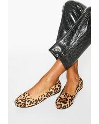 Boohoo Basic Leopard Slipper Ballets - Black