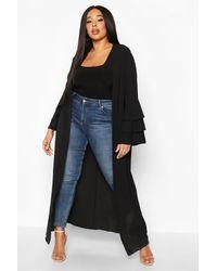 Boohoo Plus Ruffle Sleeve Maxi Chiffon Kimono - Black