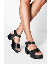 Boohoo - Peeptoe Two Part Cleated Sandals - Lyst