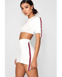 Boohoo - Cropped Tape Trim Tee And Short Co-ord - Lyst