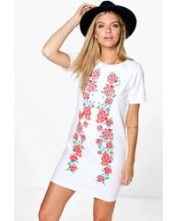 Boohoo - Printed Embroidered Shift Dress - Lyst