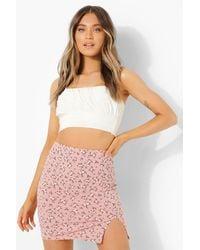 Boohoo Ditsy Floral Split Mini Skirt - Rosa