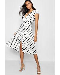 Boohoo - Boutqiue Olivia Polka Dot Wrap Dress - Lyst