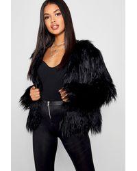 Boohoo Shaggy Faux Fur Coat - Black