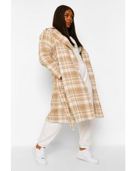 Boohoo Plus Military Button Flannel Trench Coat - Natural