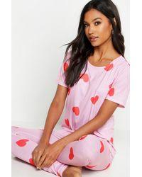 Boohoo All Over Heart Print Pj Set - Pink