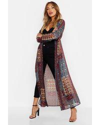 Boohoo Woven Paisley Longline Kimono - Multicolour