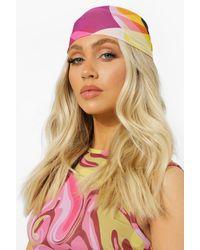 Boohoo Geo Print Chiffon Headscarf - Pink