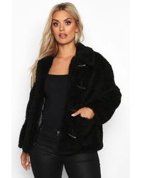 Boohoo Womens Plus Faux Fur Toggle Detail Pea Coat - Black