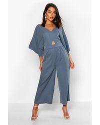 Boohoo Kimono Sleeve Culotte Jumpsuit - Blue