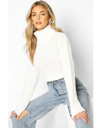 Boohoo Cropped Fisherman Roll Neck Sweater - White