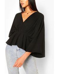 Boohoo Woven Pleated Kimono Sleeve Top - Black