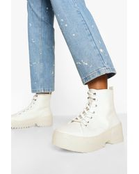 Boohoo Translucent Sole Canvas High Top Trainers - White