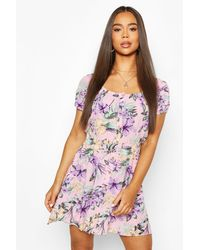 Boohoo Floral Print Cheesecloth Button Skater Dress - Pink