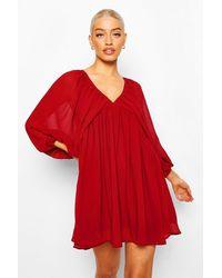 Boohoo Plunge Balloon Sleeve Smock Dress - Rosso
