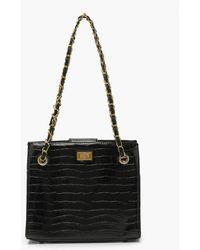 Boohoo Croc Chain Strap Twist Lock Day Bag - Black