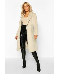 Boohoo Plus Brushed Wool Look Belted Duster Coat - White