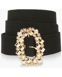 Boohoo Oval Diamante Buckle Belt - Black