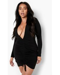 Boohoo - Plus Plunge Ruched Bodycon Dress - Lyst