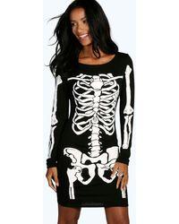 Boohoo Halloween Skeleton Bodycon Dress - Black