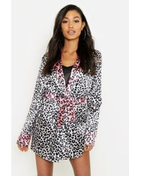 Boohoo - Contrast Leopard Satin Gown - Lyst