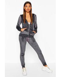 Boohoo Velvet Hooded Loungwear Set - Grey