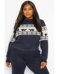 Boohoo Plus Polar Bear Fairisle Knitted Co-ord - Blue