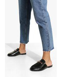 Boohoo Wide Fit Croc T Bar Mule Loafers - Black
