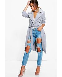 Boohoo - Petite Belted Wool Look Robe Duster Coat - Lyst