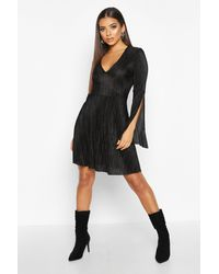 Boohoo Womens Plisse Pleated V Neck Frill Hem Skater Dress - Black