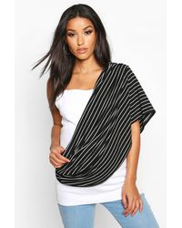 Boohoo Maternity Stripe Nursing Shawl - Black