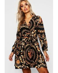 Boohoo - Plus Chain Printed Wrap Front Skater Dress - Lyst