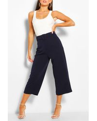 Boohoo Self Belt Culottes - Blue
