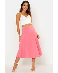 Boohoo Basic Plain Full Circle Midi Skirt - Pink