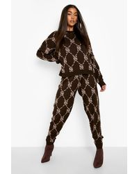 Boohoo Graphic Printed Knitted Tracksuit - Brown