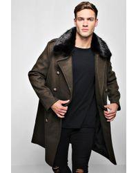 Boohoo Faux Fur Collar Military Style Overcoat - Black