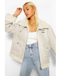 Boohoo Faux Fur Lined Faux Leather Aviator - Grey
