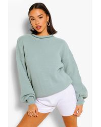 Boohoo Balloon Sleeve Oversized Jumper - Green