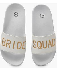 Boohoo Bride Squad Slogan Slides - White