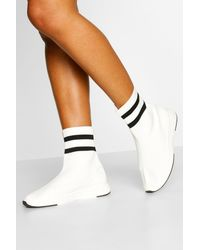 Boohoo Knitted Sock Sneakers - White