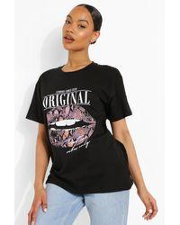Boohoo Lip Print Oversized T-Shirt - Negro