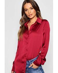 Boohoo Woven Satin Oversized Long Sleeve Shirt - Red