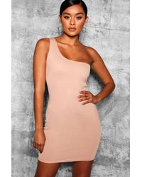 Boohoo - Thick One Shoulder Strap Bodycon Dress - Lyst