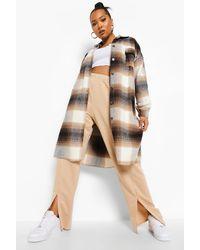 Boohoo Plus Blurred Flannel Longline Shacket - Brown