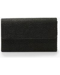 Boohoo Raffia Straw Clutch Bag & Chain - Black