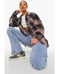 Boohoo Bleached Fringe Hem Oversized Flannel Shirt - Blue