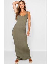 Boohoo - Petite Strappy Basic Maxi Dress - Lyst