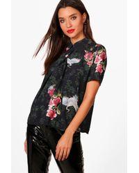Boohoo | Maisy Oriental Bird Print Short Sleeve Chiffon Blouse | Lyst