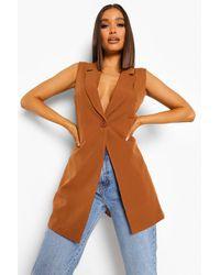 Boohoo Longline Tailored Waistcoat - Natural